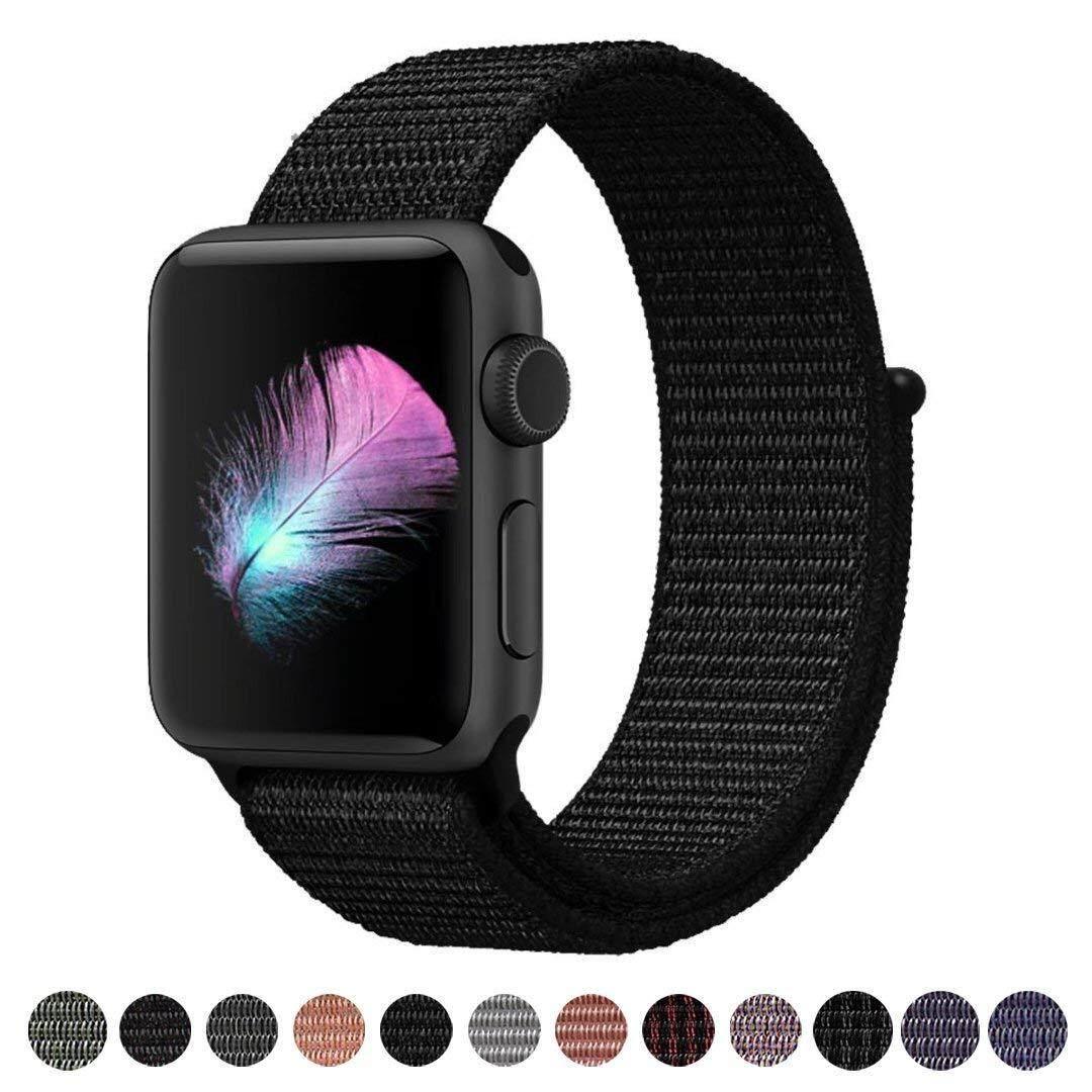 Kompatibel untuk Pita Jam Tangan Apple 38 Mm Lembut Olahraga Nilon Loop, dengan Kail dan