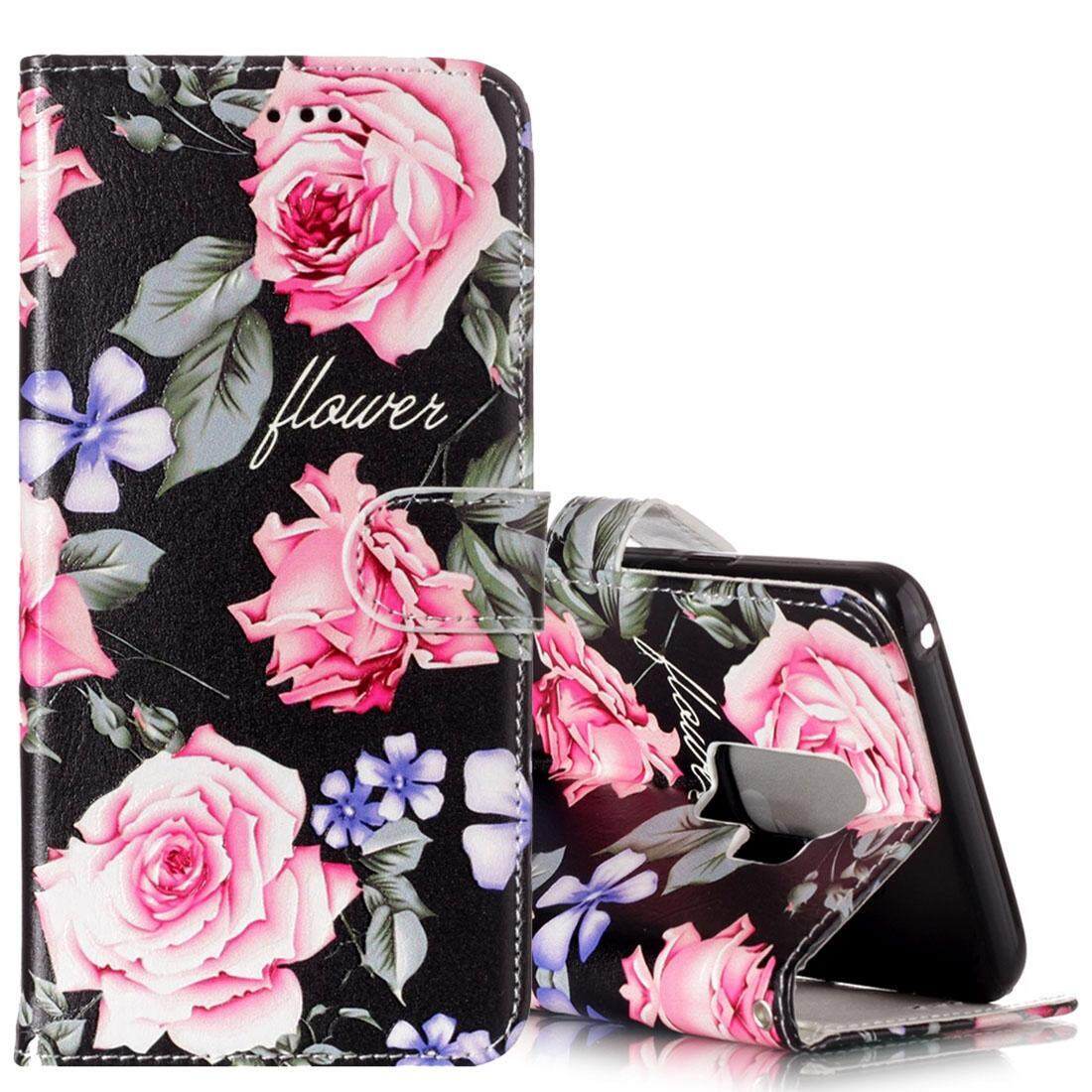 For Samsung Galaxy S9+ Gloss Oil Embossed Peony Floral Pattern Horizontal Flip Leather Case with Holder & Card Slots & Wallet - intl