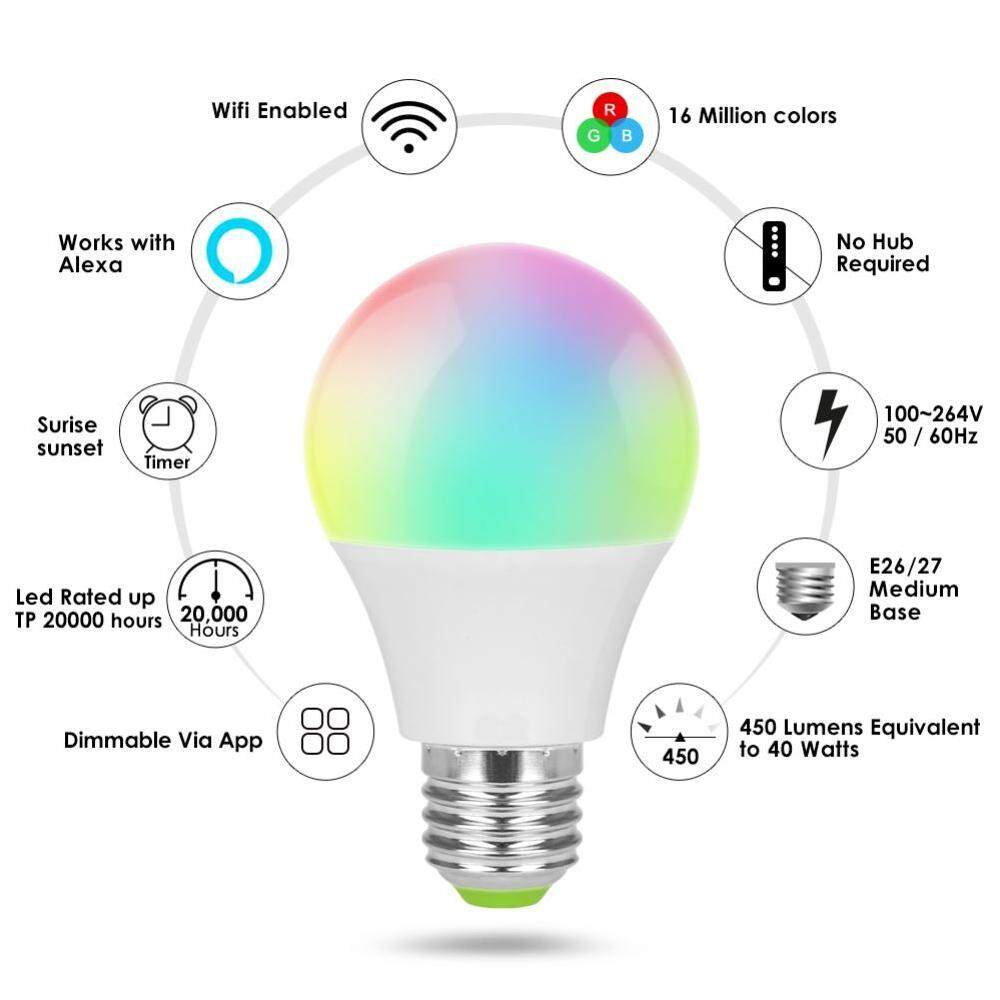 Burstore Led Dimmer Wifi Smart Light Bulbs Remote Control Light Switch Color Changing rgb bulb Works With Alexa onoff bulb - intl