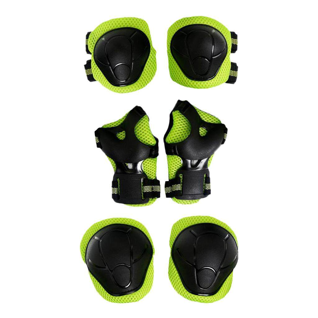Magideal 6 Pcs Kid Child Roller Skating Bicycle Helmet Knee Wrist Guard Elbow Pad Green By Magideal.