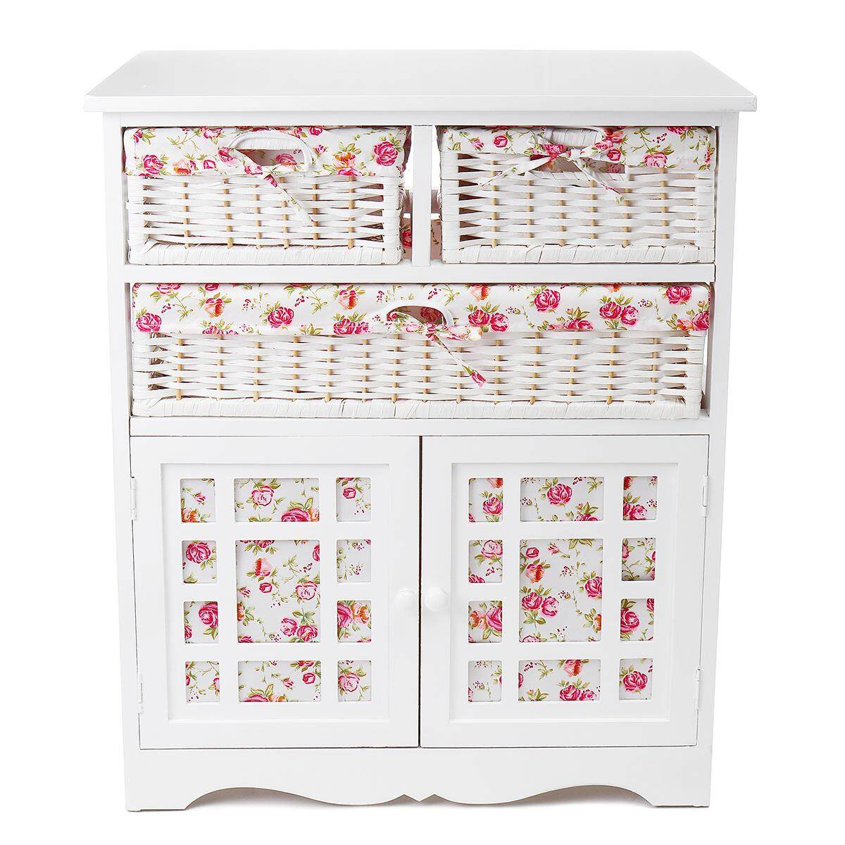 White Wicker Basket Storage Unit Chic Bedside Table Cabinet Chest of Drawers