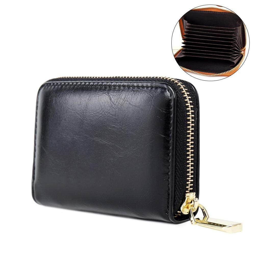 52e3a4e1e750 EterSummer Credit Card Holders Small Wallet Pocket Wax Leather Zipper Purse  Card Case with 11 Slots
