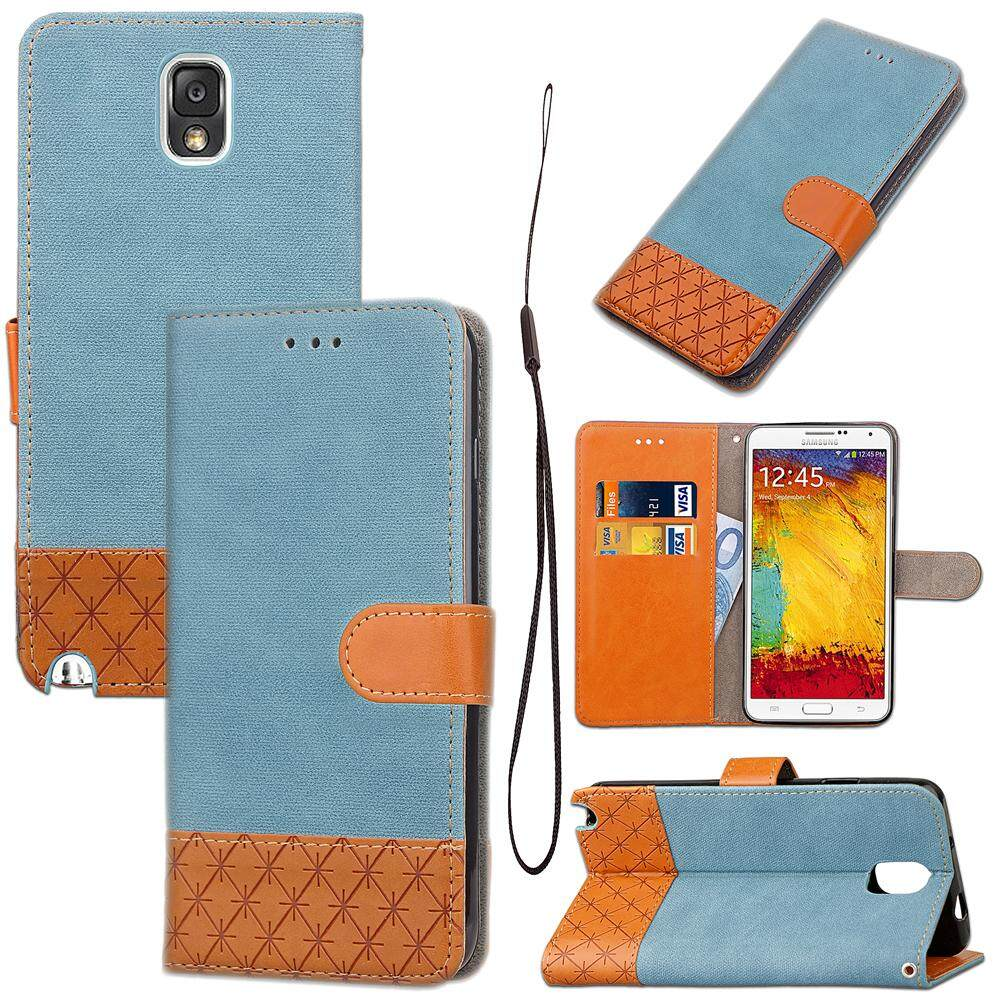 Moonmini Case for Samsung Galaxy Note 3 N9000 Case Cowboy Kenzo Cellphone Folding Stand Scratch Resistant Mobile Phone Case with Card Slot and Lanyard - intl