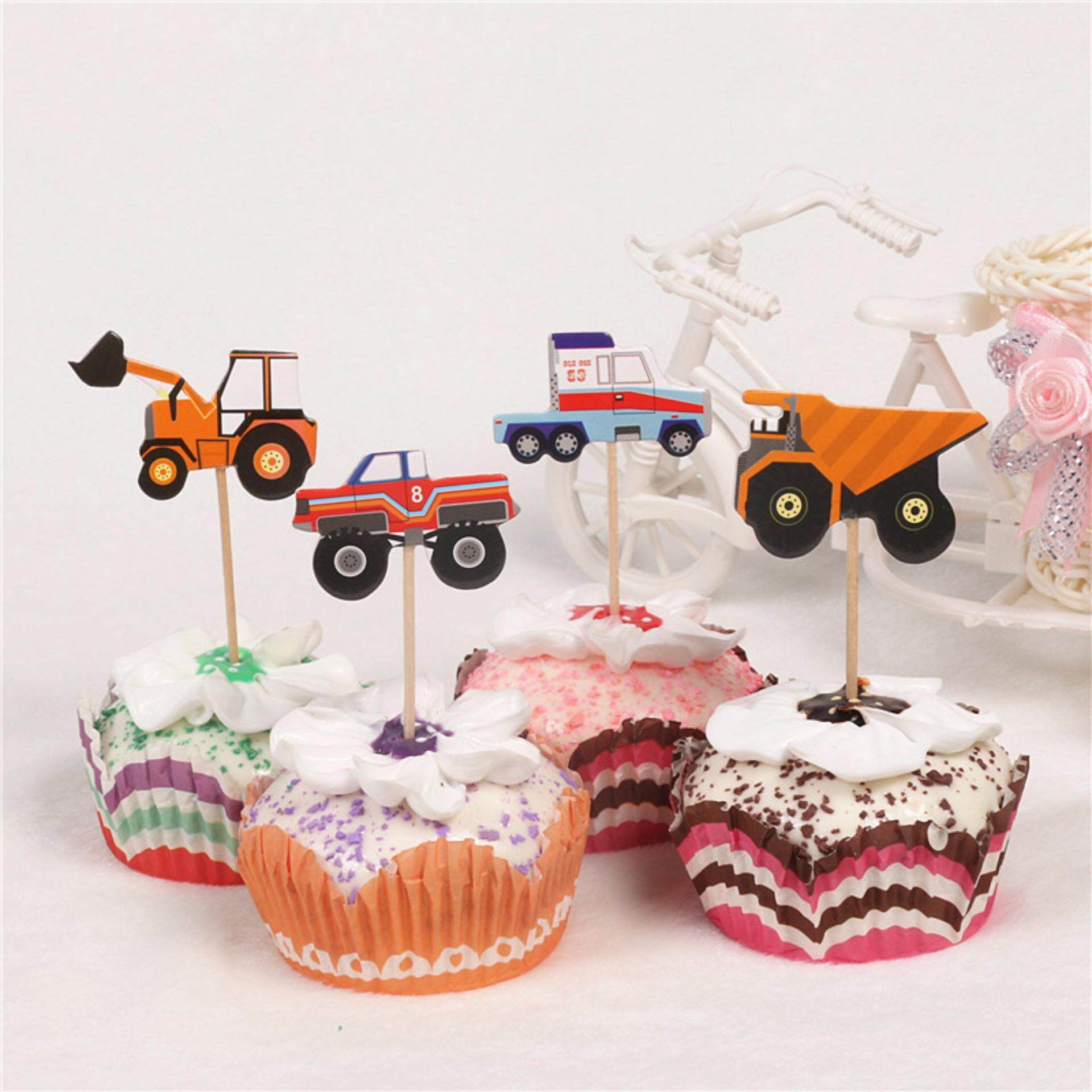 Orange Sunshine 24pcs Cartoon Car Truck Cupcake Toppers Picks Birthday Party Baby Shower Decor