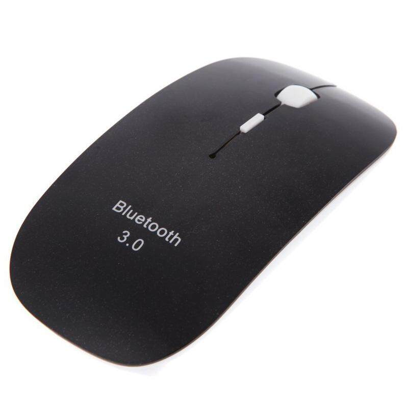 Slim 3D Mouse Bluetooth 3.0 Nirkabel Mouse Optik 1600 Dpi untuk MacBook Windows 7 XP Vista Laptop (Hitam)-Intl