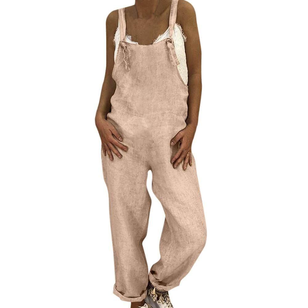 Vernonstore_Womens Linen Panjang Playsuit Dungarees Celana Harem Wanita Secara Keseluruhan Jumpsuit