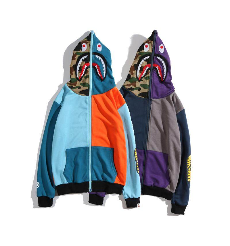 35dd80648494 BAPE Men Jackets Coats Stitching Shark Hoodie Sweater Retro Contrast Color  Zipper Cardigan Clothing