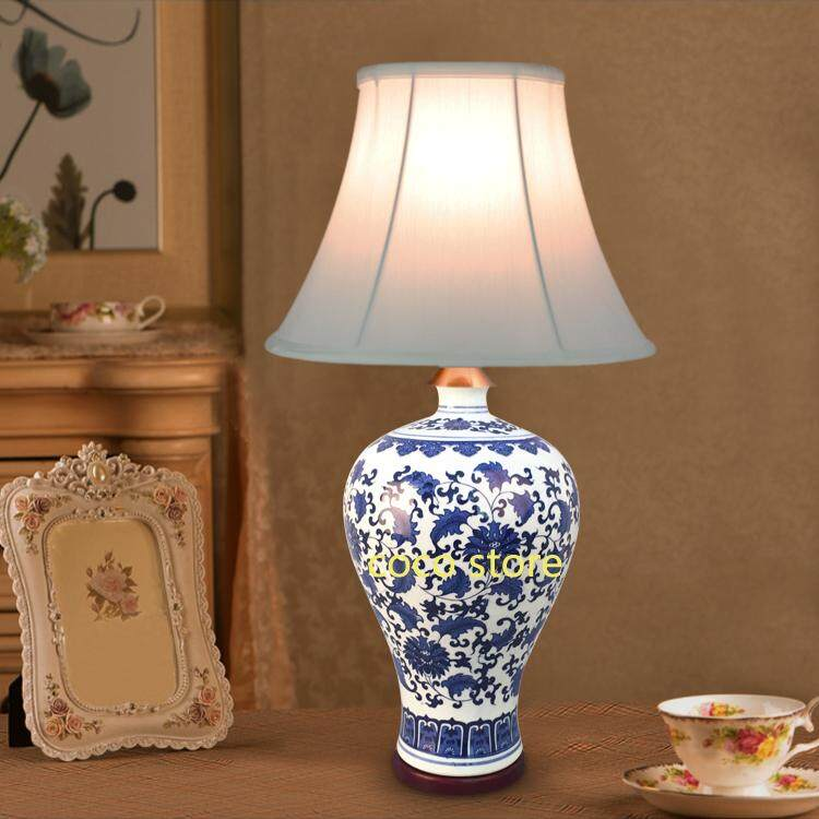 Table Lamp COCO STORE Ceramic Table Lights Button Switch Cloth Lampshade Desk Lamp - intl