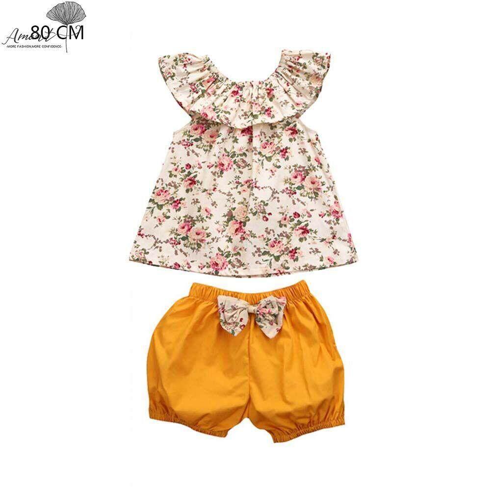 Amart Fashion Anak Bayi Perempuan Anak-anak Top Tanpa Lengan Celana Pendek Bunga Set Celana