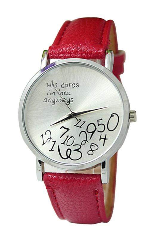 Arab numerals Leatherlet watches Quartz Analogue, Rosa, Unisex Watches, red Malaysia