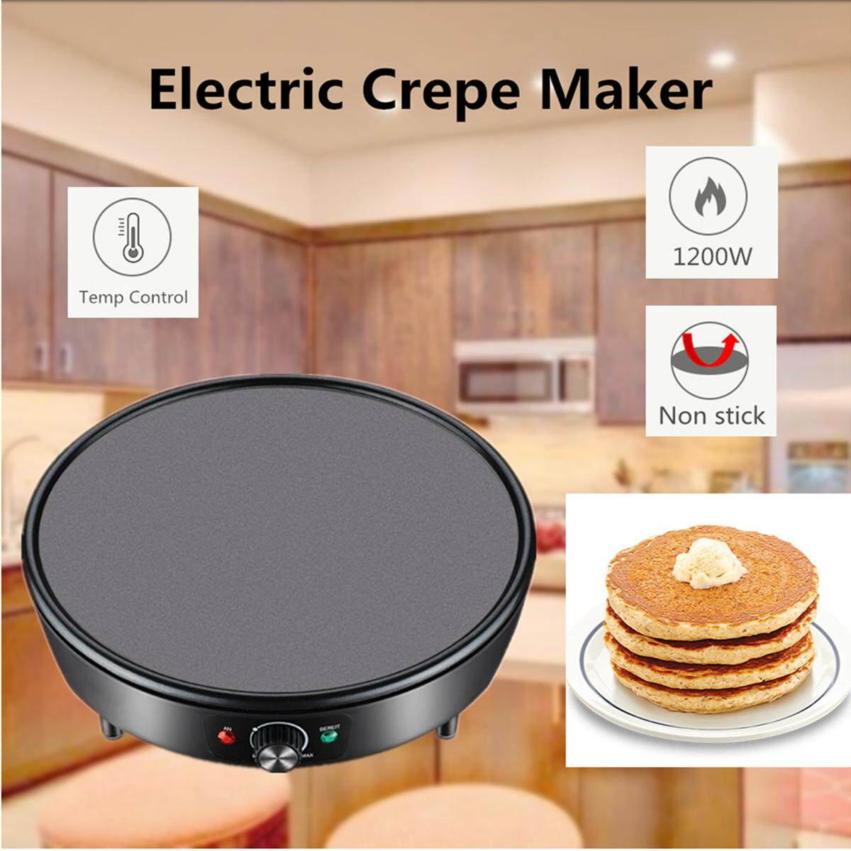 Electric Kitchen Crepe Maker Baking Grill Cooktop Nonstick Pancake Eggs Bread Breakfast Crepe Maker Pancake Cooker Grill Hot Plate Dessert Making Machine By Audew.