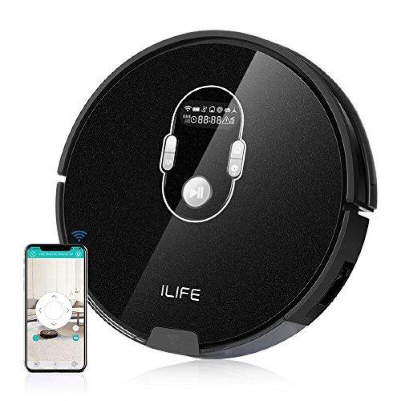 ILIFE A7 Robotic Vacuum Cleaner with 600ML Big Dustbin, LCD Display, Multi-Task Schedule Function, Smart Phone APP Control and Higher Suction Power for Hard Floor and Thin Carpets Singapore