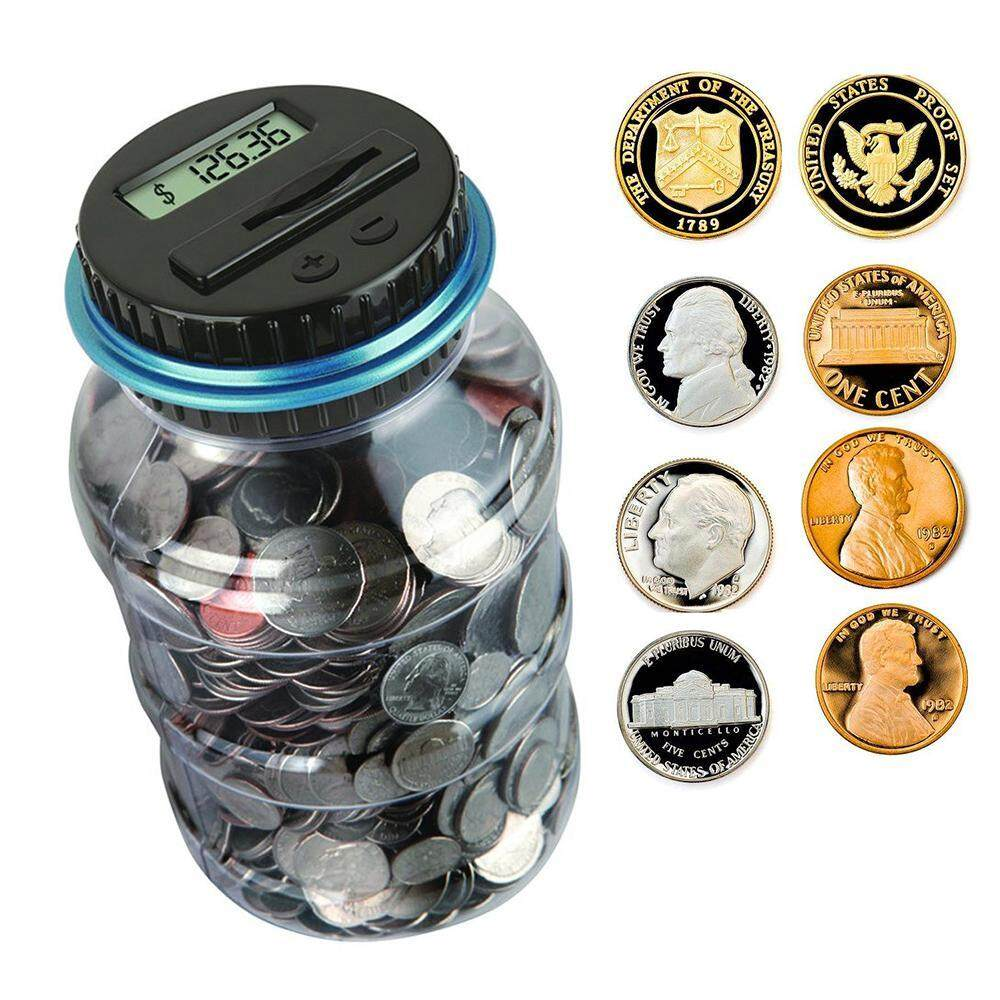 leegoal Piggy Bank Digital Counting Coin Bank Creative Large Money Saving Box Jar Bank LCD Coins Saving Gift (Dollar)