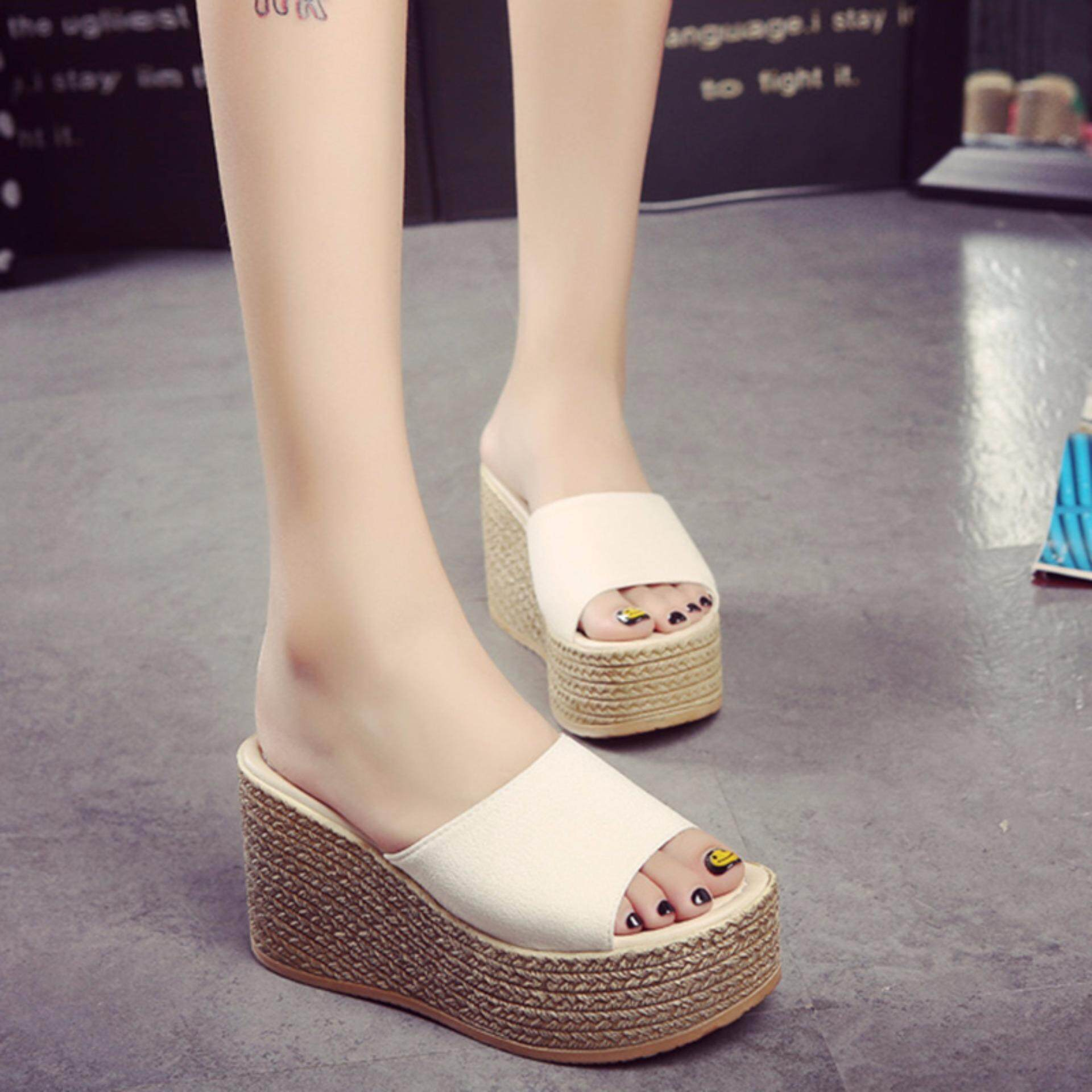 Korea Platform Sandal Wedge Hak Tinggi Sepatu Putih-Intl