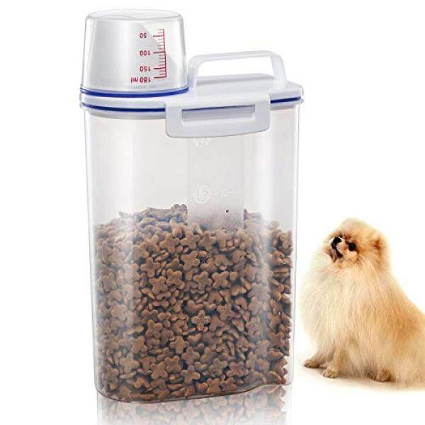 Tbmax Pet Food Storage Containers For Dogs Airtight Cat Food Container With Pour Spout + Measuring Cup Bpa Free Plastic Dry Birds Fish Food Dispenser By Buyhole.