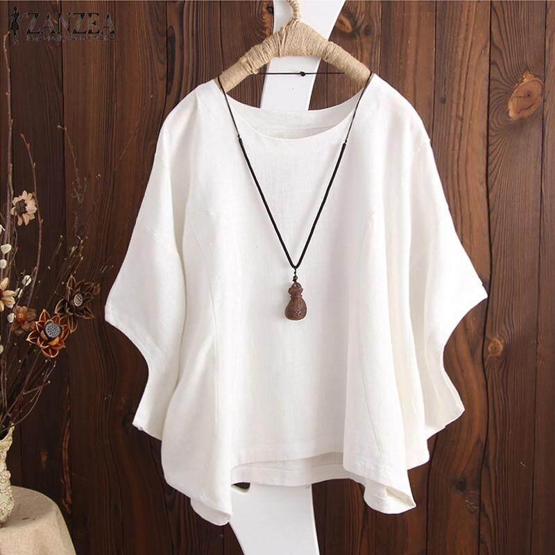 Zanzea Blus Katun Kasual Longgar Untuk Wanita, T-Shirt Atasan Standar Ukuran Plus By Zanzea Official Store.