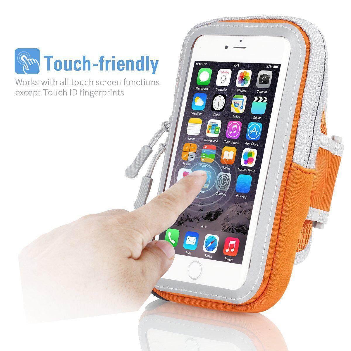 Waterproof Sport Running Arm Band Case Bag(Orange 4.7 Inch)