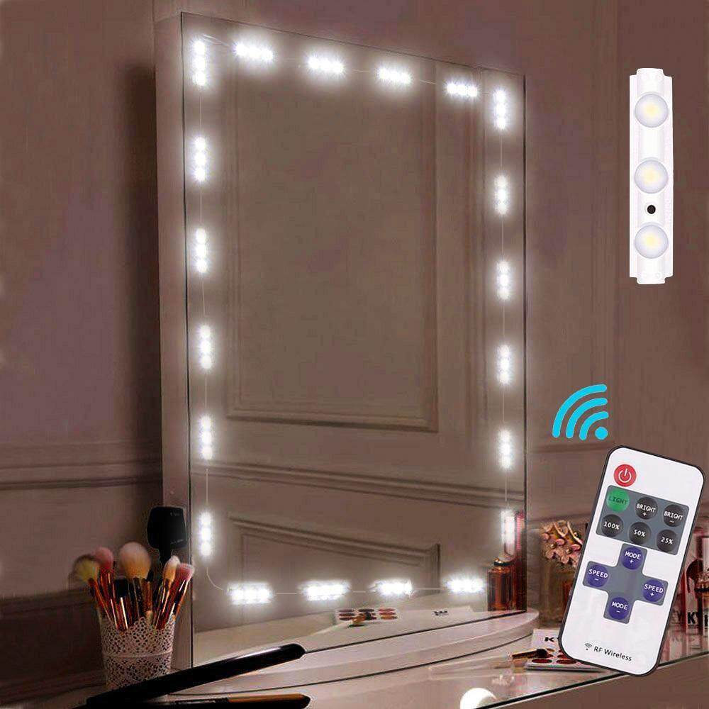 HONGHUI Makeup Mirror Light, Bathroom Vanity Light Kit,Vanity Mirror Light Kit For DIY Cosmetic Hollywood Make Up Mirror With Remote And Dimmer Switch 10FT 60LED - intl