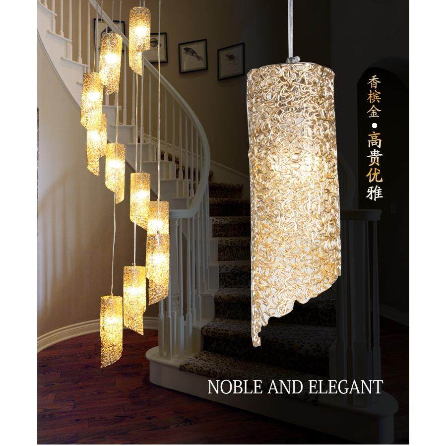 restaurant long Pendant Lights New double staircase lamp rotating Pendant lamps hotel living room modern minimalist