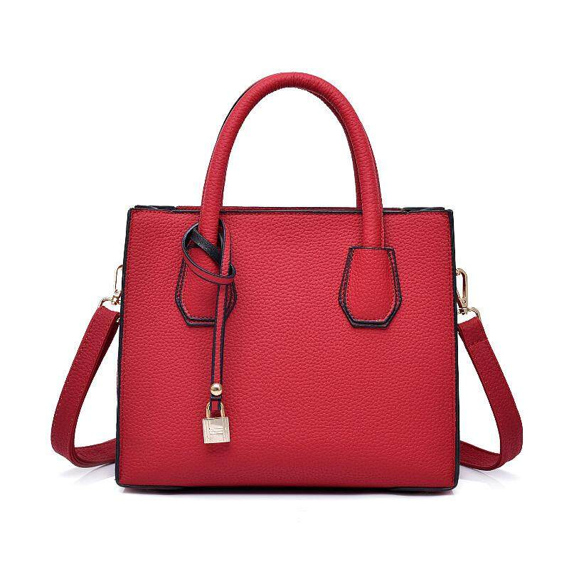 167bfec0e59 Fashion Litchi Pattern Leather Handbags Women Tassel Casual Tote Bags Lock  Pendant Vintage Women Handbags Ladies Crossbody Bags - intl