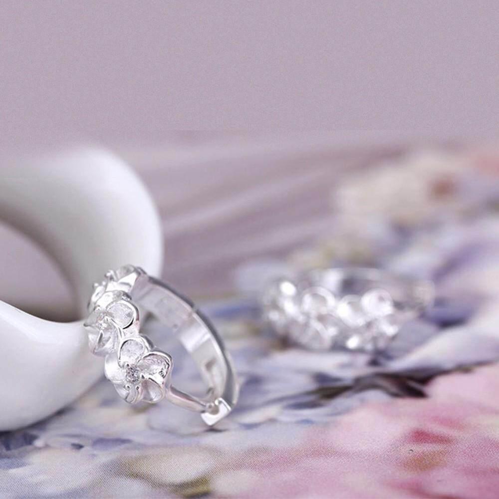 ... Fashion 925 Perhiasan Perak Camellia Jepit Telinga Mode untuk Wanita Plum Anting Telinga Anting-anting ...