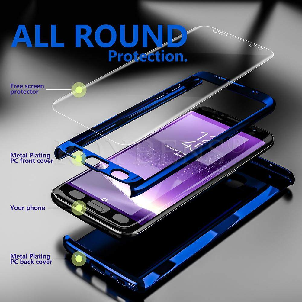 Roybens 360° Shockproof Slim Hard Mirror Case+Screen Protector Cover For Samsung Galaxy S7