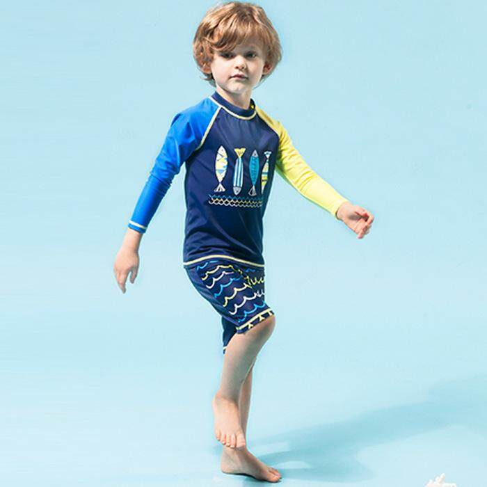 0307c20c0a277 Kids Boys 90-150CM Two-Pieces Set Swimsuit Long Sleeves Swimwear Child Swim  Trunks