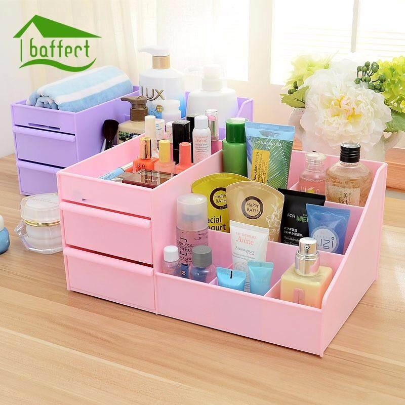 Cosmetic Jewelry Organizer Plastic Storage Box With Drawer Desk Makeup Case Bathroom Office Debris Holder Home Decoration