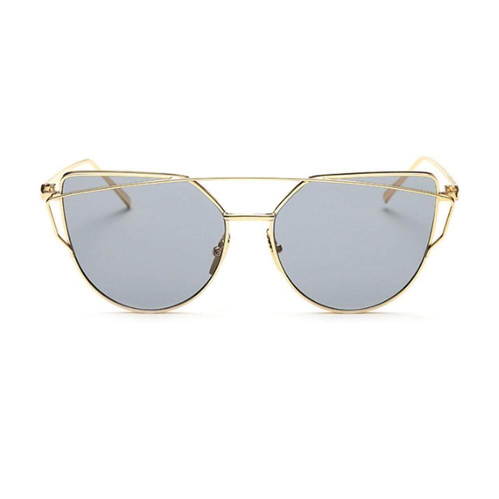 Yueshunbuha Kacamata Hitam untuk Wanita, Niceeshop Kucing Mata Lensa Datar Cermin Klasik Bingkai Logam Kacamata Hitam UV400, gold Transparan-Internasional