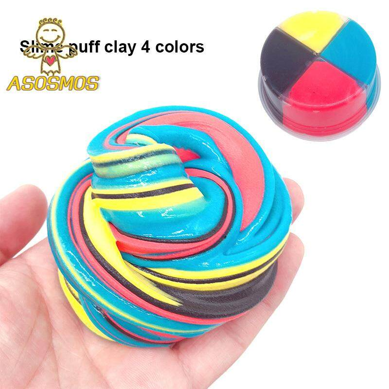 ASM Colorful Puff Slime Mud 4 Colorblock Plasticine Kid Clay Toy Stress  Relief