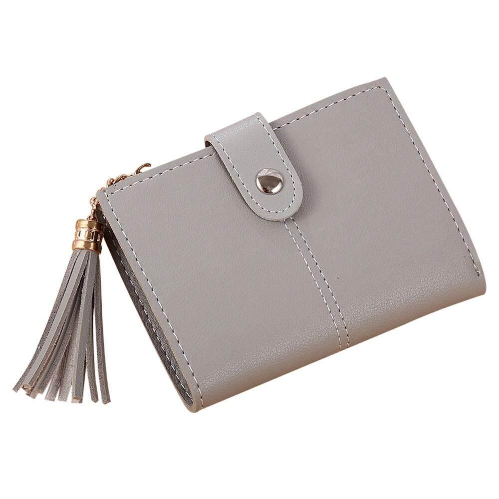 ผู้หญิงง่ายกระเป๋าสตางค์ใบสั้นซองใส่เหรียญประดับพู่กระเป๋าถือของผู้ถือบัตร Bk By Sykesshop.