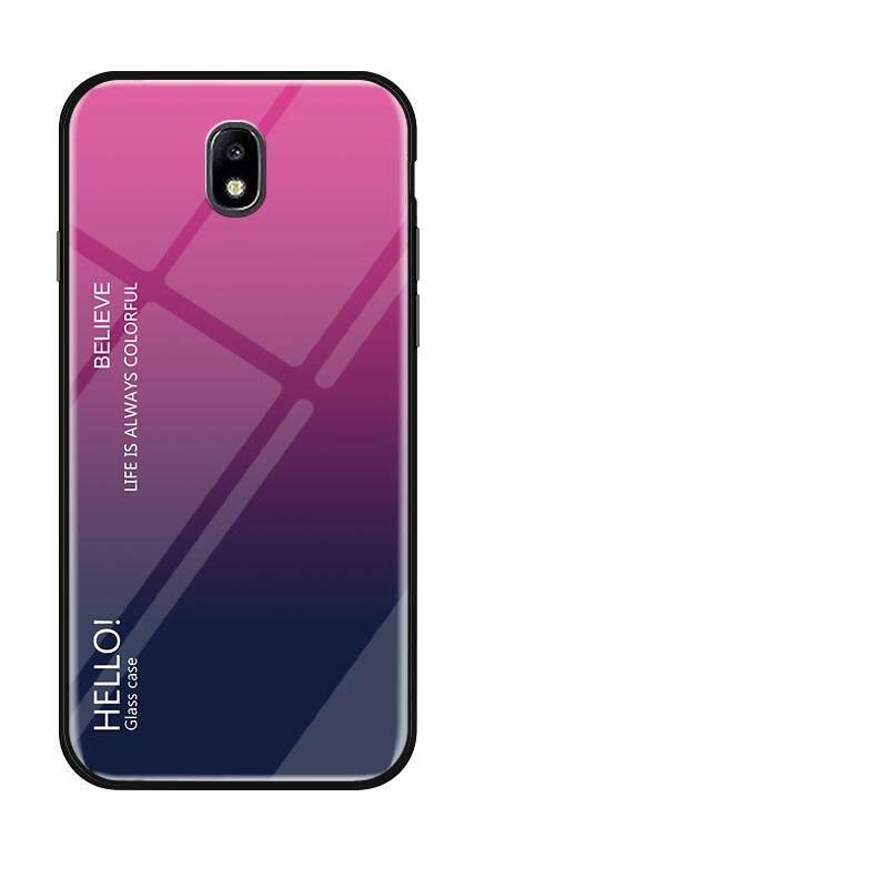 Untuk Samsung Galaxy J7 PRO 2017 J730 Gradien Warna Kaca Antigores Casing Kaca Penutup Belakang Lembut TPU Bumper Case