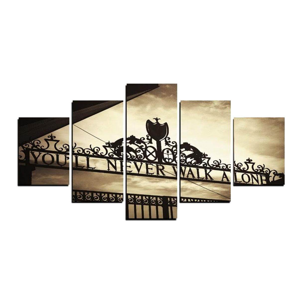5pcs Frameless Liverpools Youll Never Walk Alone Canvas Pictures Wall Art Decor