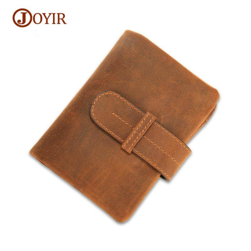 2f544d9c92 JOYIR Genuine Leather Wallet Men Vintage Hasp Short Men Mallets Card Holder  Cover Crazy Horse Coin