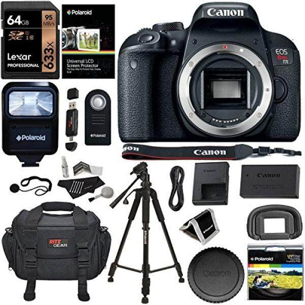 Canon EOS Rebel T7i Kamera Tubuh Lexar 64 GB Kartu Memori, Polaroid Tripod Ritz Gear SLR Tas Kamera, polaroid Filter Uv, Flash dan Aksesori Bundle