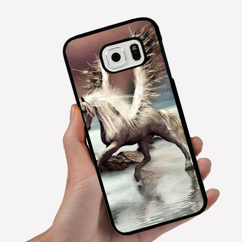 Casing Ponsel untuk Sony Xperia Z5 dengan Kuda Putih dengan Sayap Malaikat Di Atas Air Gambar Kartun Pola Plastik Anti-Knock Telepon case Cover