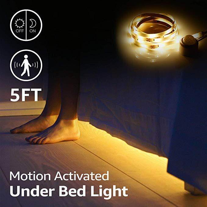 2Meters 120LEDs  Non-Waterproof IP20 Warm White Motion Activated Under Bed Light,LED Motion Sensor Bedside Light Strip  LED Bed Light For Under Cabinet, Under Bed, Hallway, Dark Corner Accent Lighting Singapore