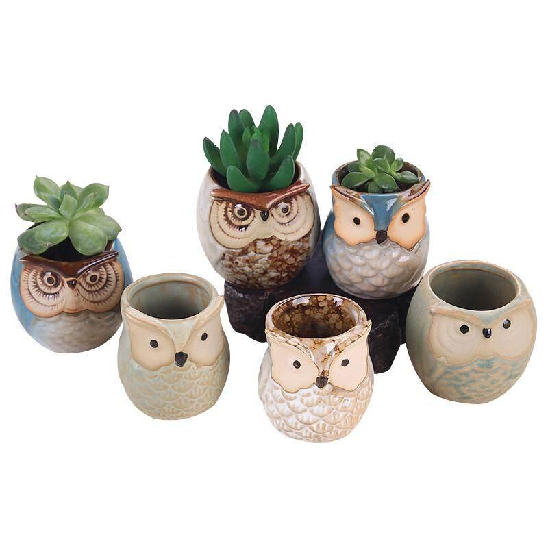 6pcs Ceramic Owl Plant Pot Flowing Glaze Base Creative Flower Container as Decorations