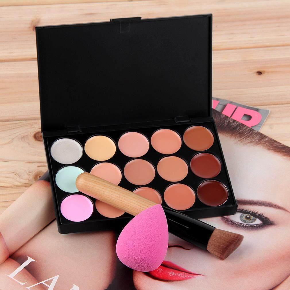 Yika 15 Warna Krim Kontur Wajah Makeup Palet Concealer Spons Make-up Kuas Bedak