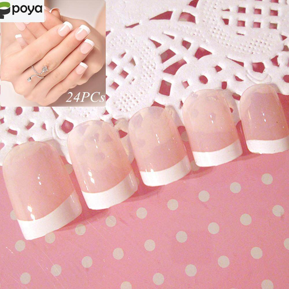 Poya 24pcs Acrylic Design False French Nails Full Nail tips Fake Art Cover Manicure Philippines