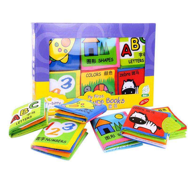 6pcs/set Baby Soft Washable Classic Cognitive Cloth Book Early Learning Education Cute Animals Book For Kids Infant Toys By Twins Girl.