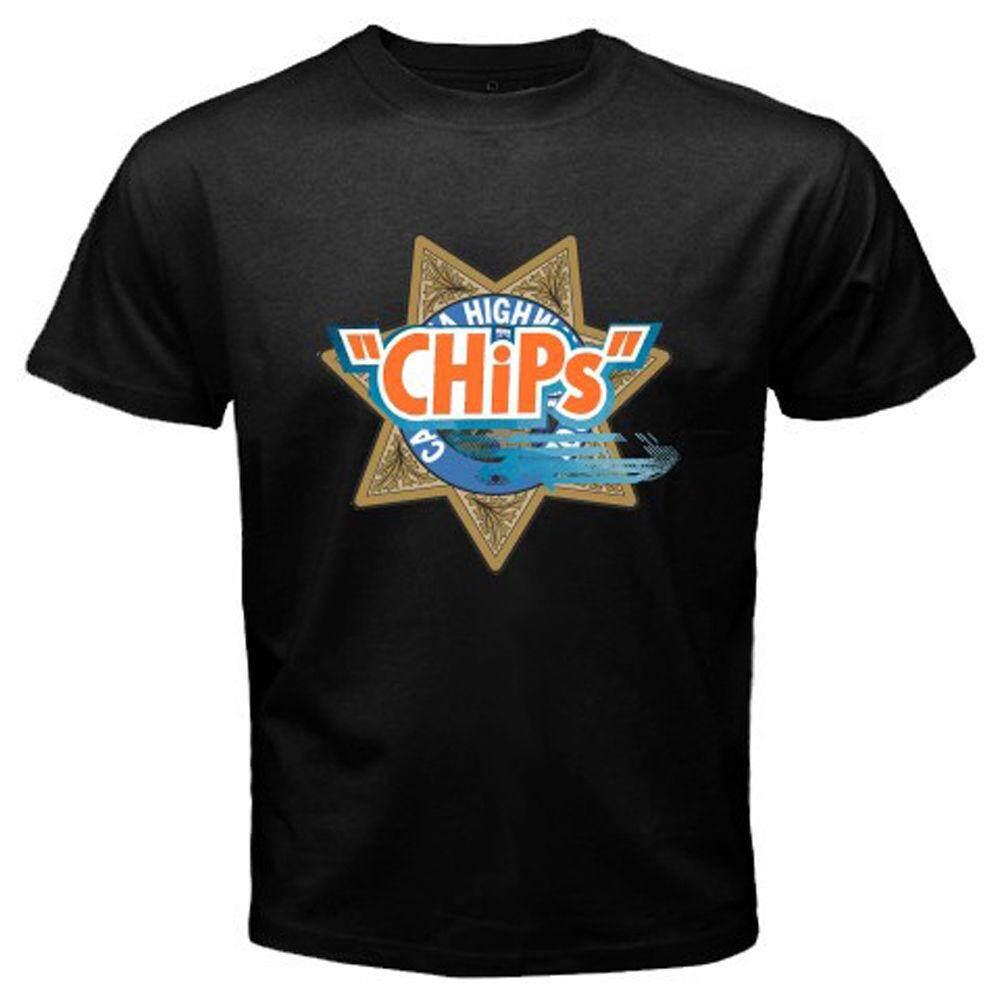 4121939a8686 New Chips Retro Movie Tv Show Logo Highway Patrol Men S T-Shirt Black