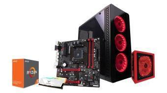 AVF Gaming Freak 50S NEO NOVA Gaming Tower Casing + Gigabyte GA-AB350M-Gaming 3 Motherboard + AVF The Rage 750W PSU + AMD Ryzen 5 2400G Radeon RX Vega 11 Graphics Processor + TeamGroup T-FORCE 8GB DDR4 2400 Desktop Gaming RGB RAM + 120GB SATA SSD