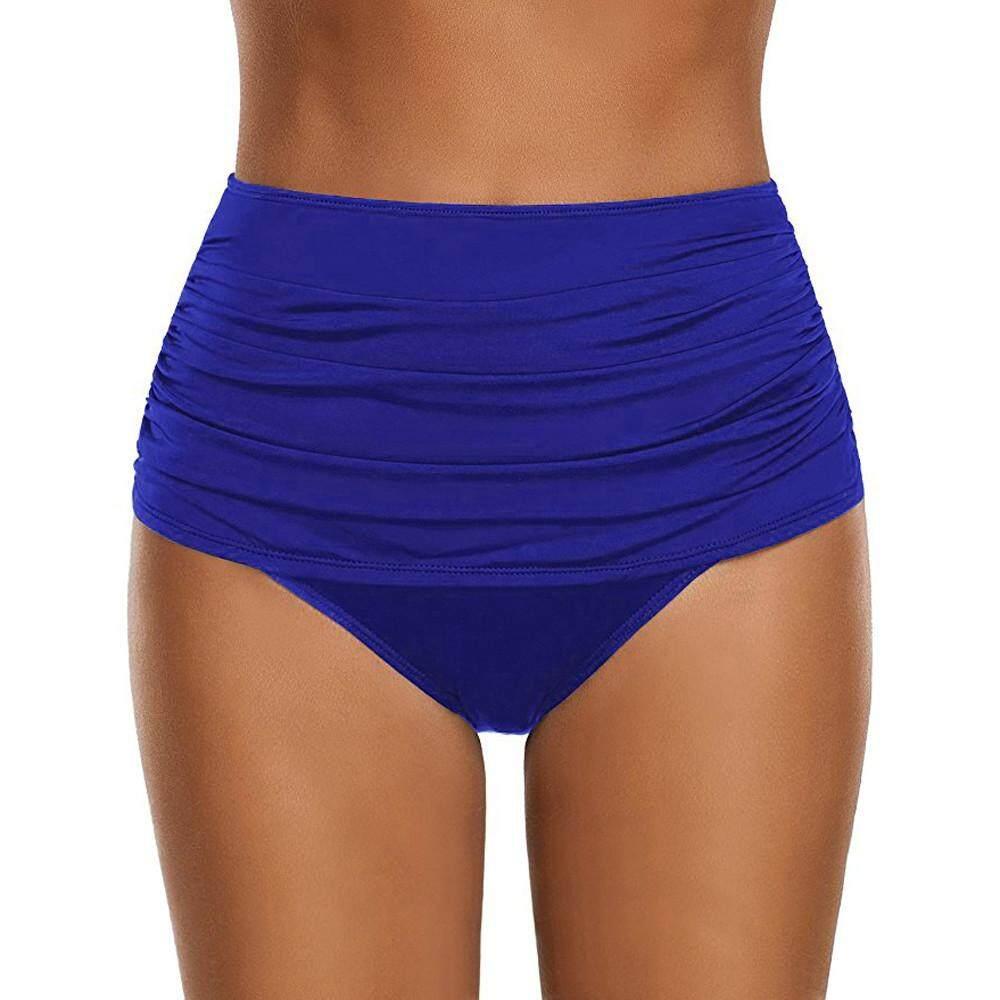 89d17039c53 Women's Korean-style High Waisted Swim Bottom Ruched Bikini Tankini Swimsuit  Briefs Plus Size
