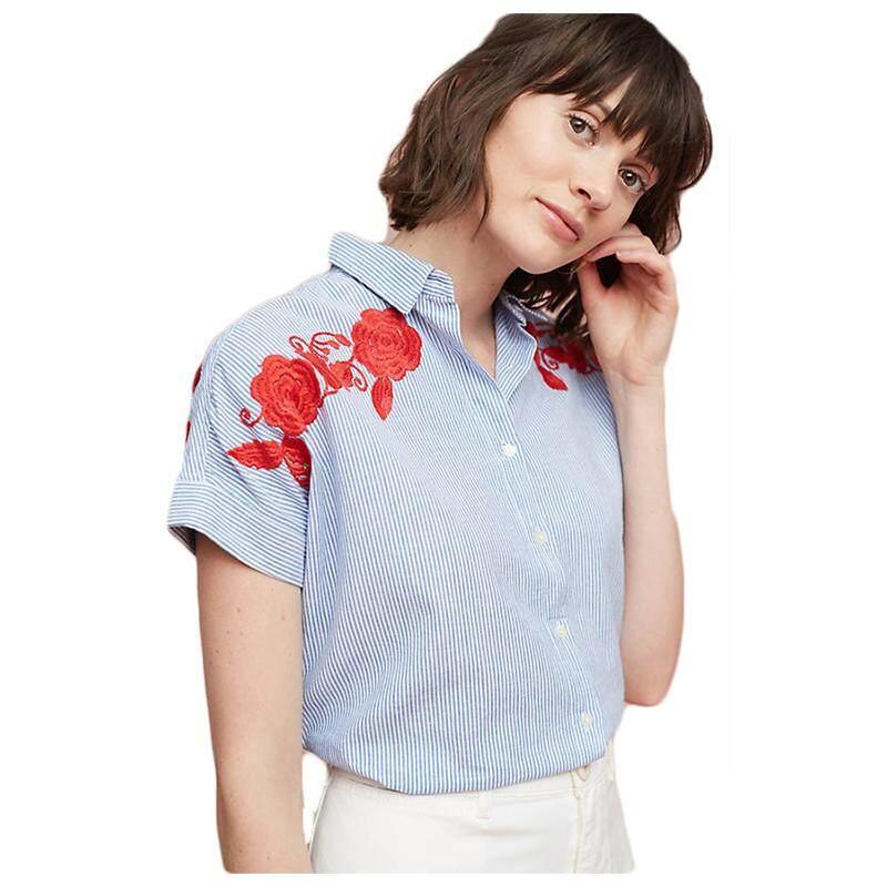 Mode untuk Wanita Musim Panas Baru Kasual Lengan Pendek Merah Bunga Bordir Bergaris Putih Biru Cetak