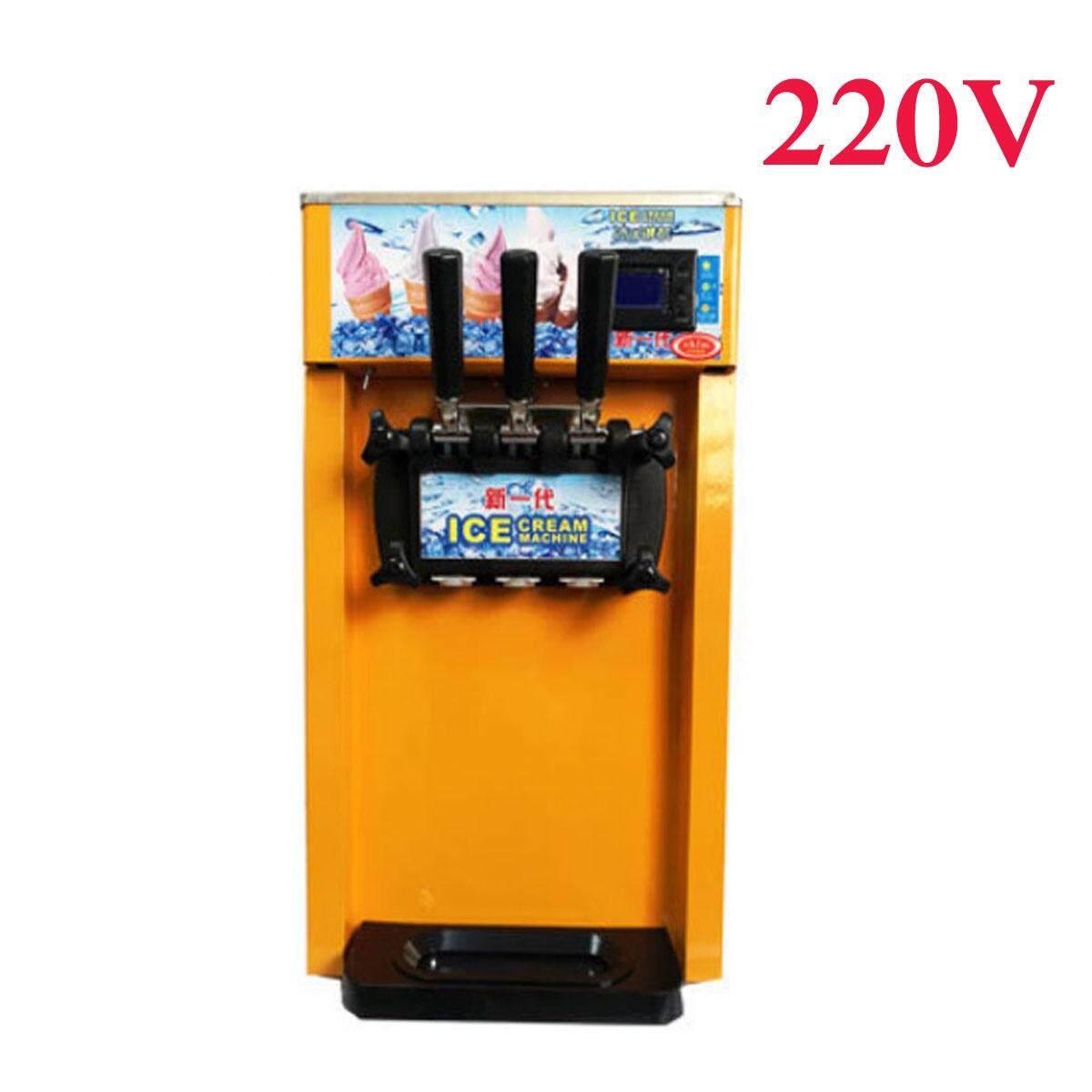 220V 3 Flavor Commercial Frozen Soft Ice Cream Machine Yogurt Cones Making