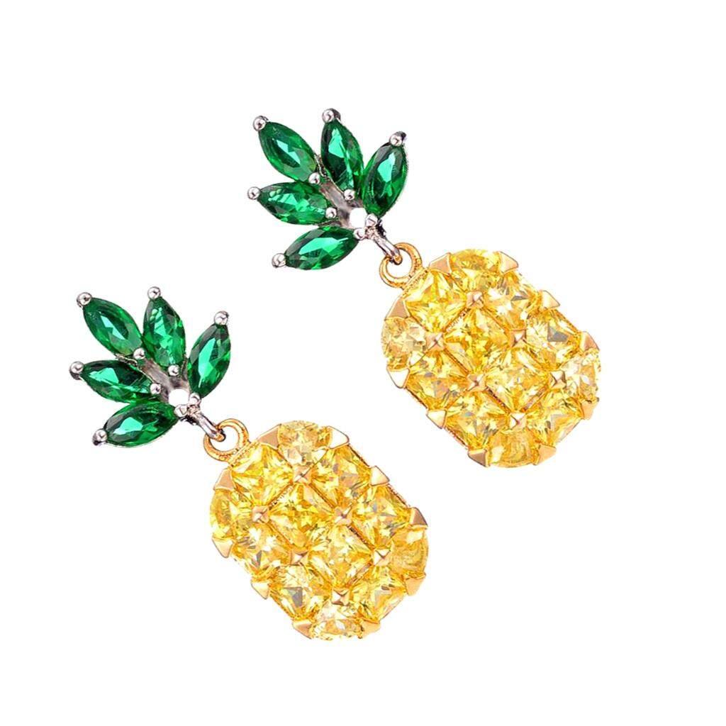 Bolehdeals Wanita Gadis Nanas Anting Telinga Mode UNTUK WANITA Perhiasan 3D Liontin Buah Anting-Anting