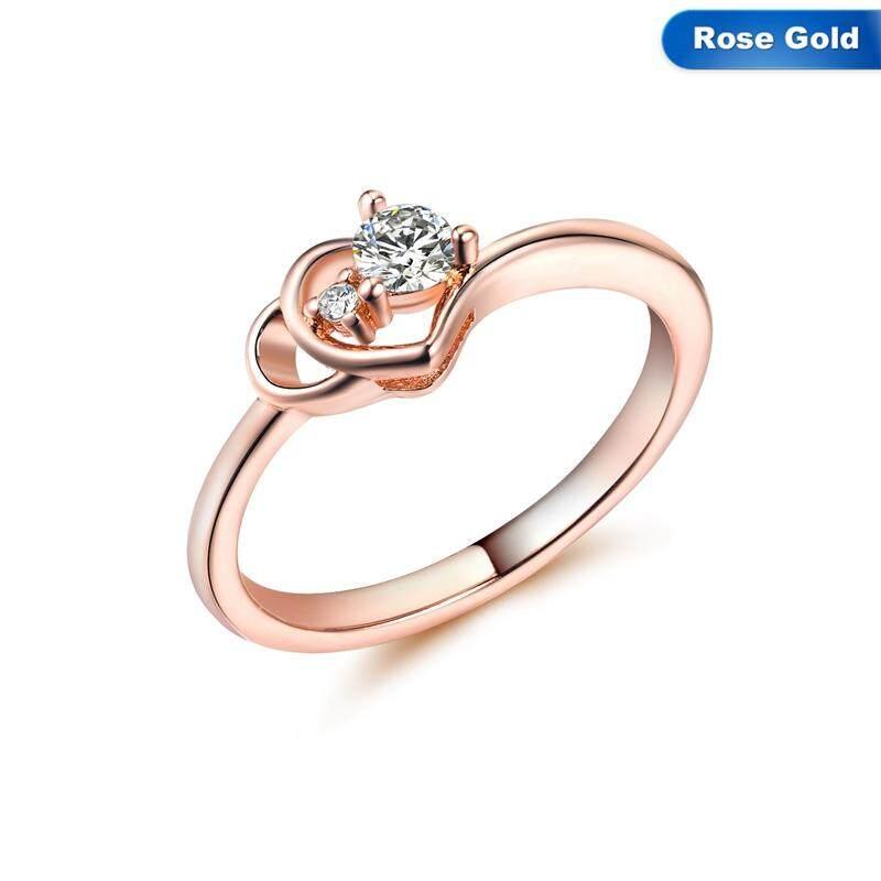 Bzy Cubic Zirconia Mawar Emas Warna Pernikahan Austria Cincin Kristal Fashion Jantung-Berbentuk Cincin untuk