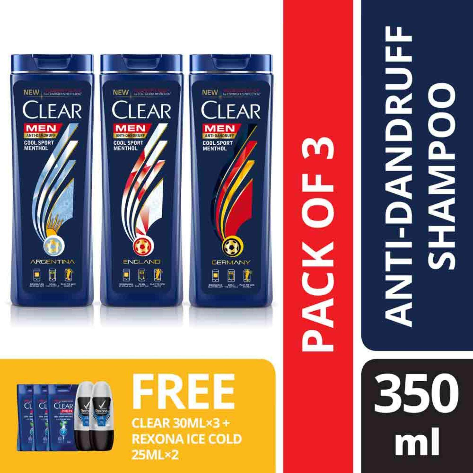 Features Clear Men Cool Sport Menthol Anti Dandruff Shampoo 350 Mlx3 Foc 30 Ml