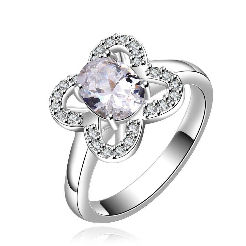 Ukuran US 7 Gaya Segar Bunga Berlian Imitasi Cincin Perhiasan untuk Wanita-Intl